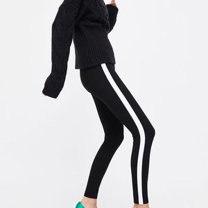 Zara Pants - NWT Zara Black Contrasting Side Stripe Leggings